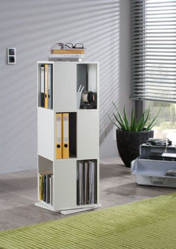 Luiz White Revolving Tower Bookcase - 2689